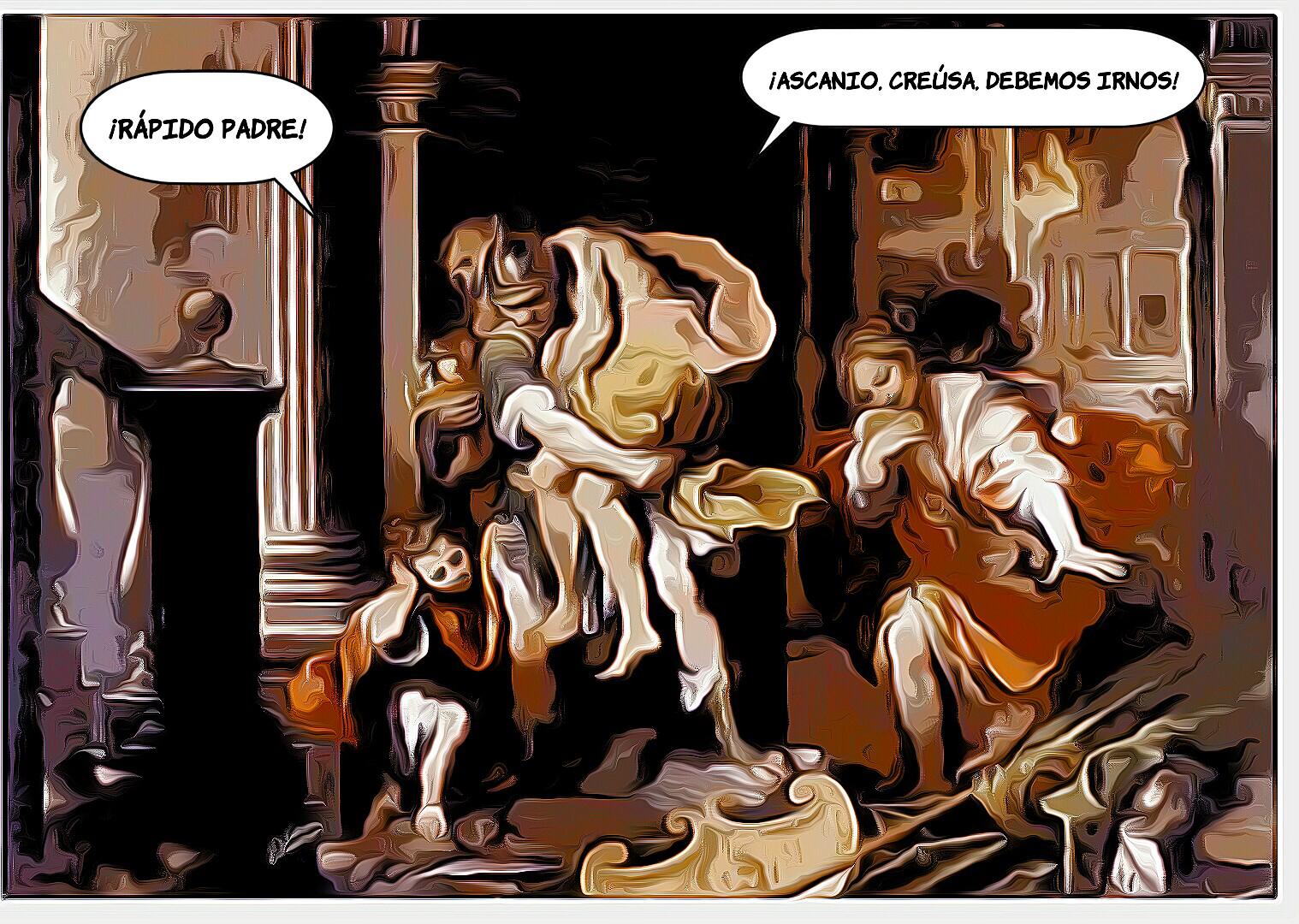 Eneas huye de Troya (Blanca Jiménez - 1º ESO)
